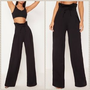 NWT PLT Black paperbag high waist wide leg pants